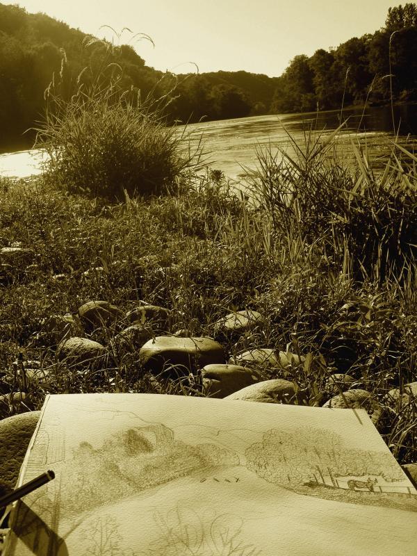 Dessinant au bord de la Dordogne...